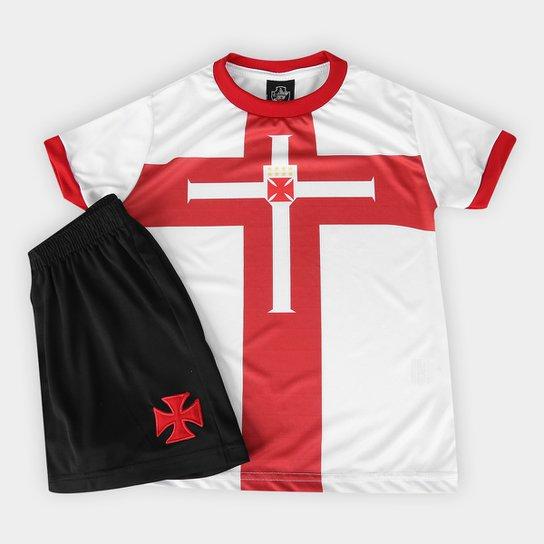 Conjunto Vasco Templária Infantil - Branco+Vermelho 817f0cf5b1e18