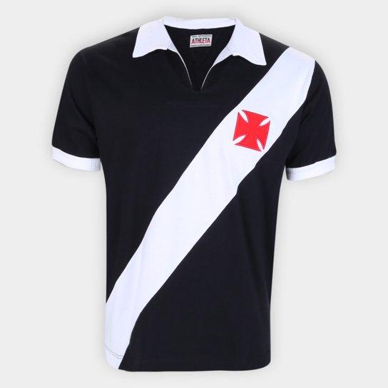 Camisa Polo Retrô Vasco 1960 Athleta Masculina - Preto