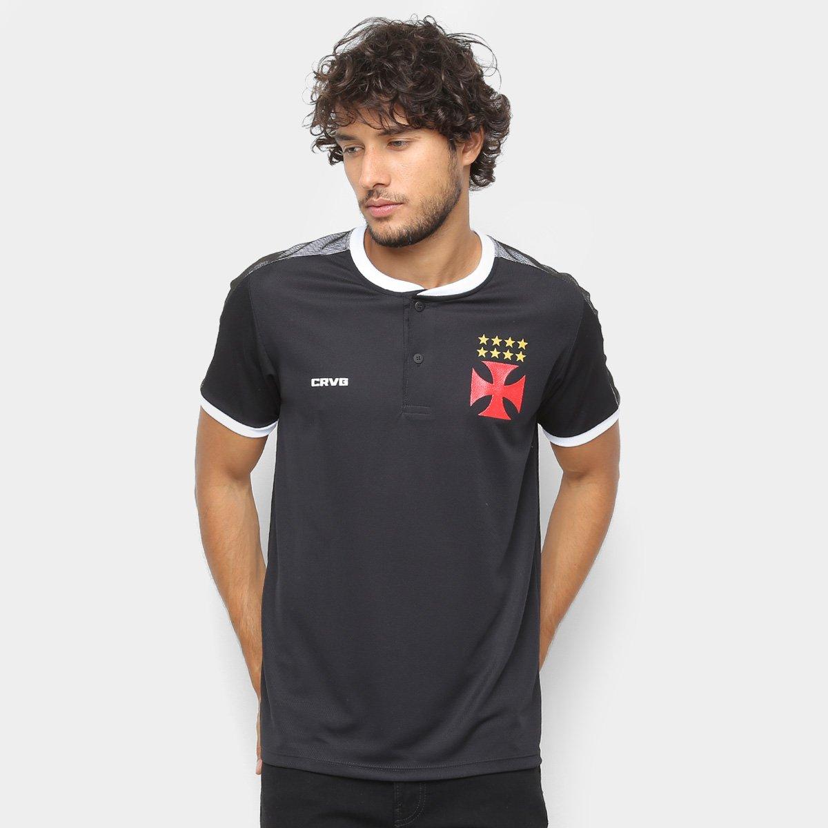0845d709e3 Camisa Polo Vasco Squad Masculina - Preto e Branco