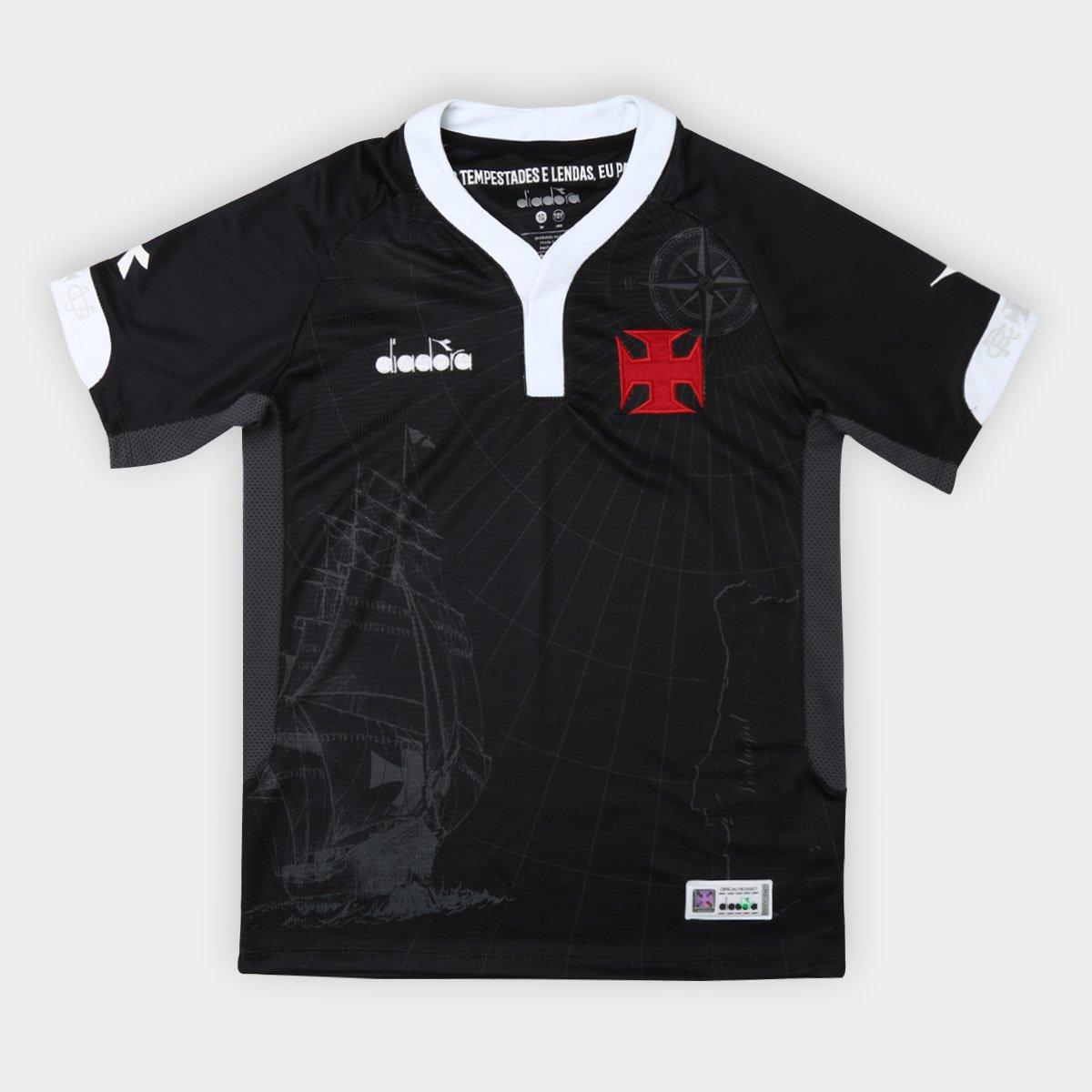 Camisa Vasco III 2018 s n° - Torcedor Diadora Infantil - Preto ... f32a76ba9fef5