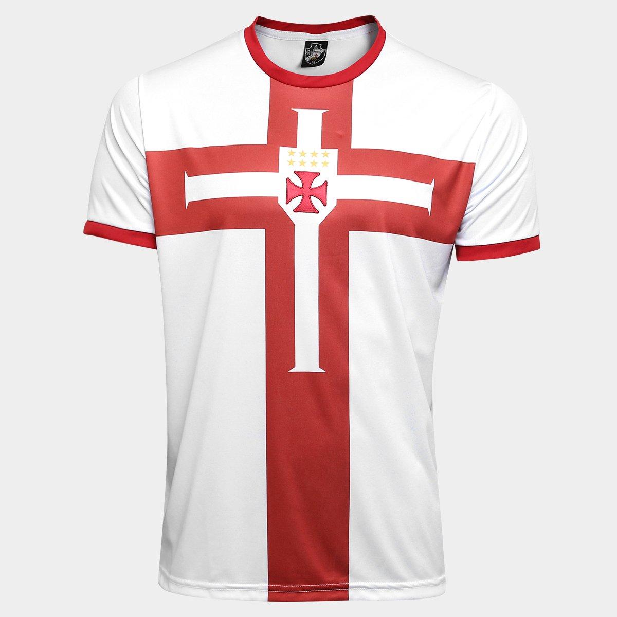 Camisa Vasco Templária Ed. Limitada Masculina - Branco e Vermelho ... 6a902cbe43b1d