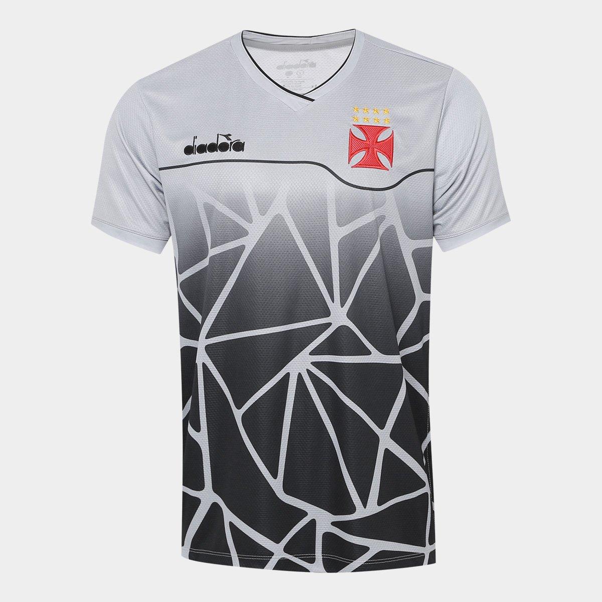 Camisa Vasco Treino 2018 Diadora Masculina - Cinza e Preto - Compre ... 75cd8783933af