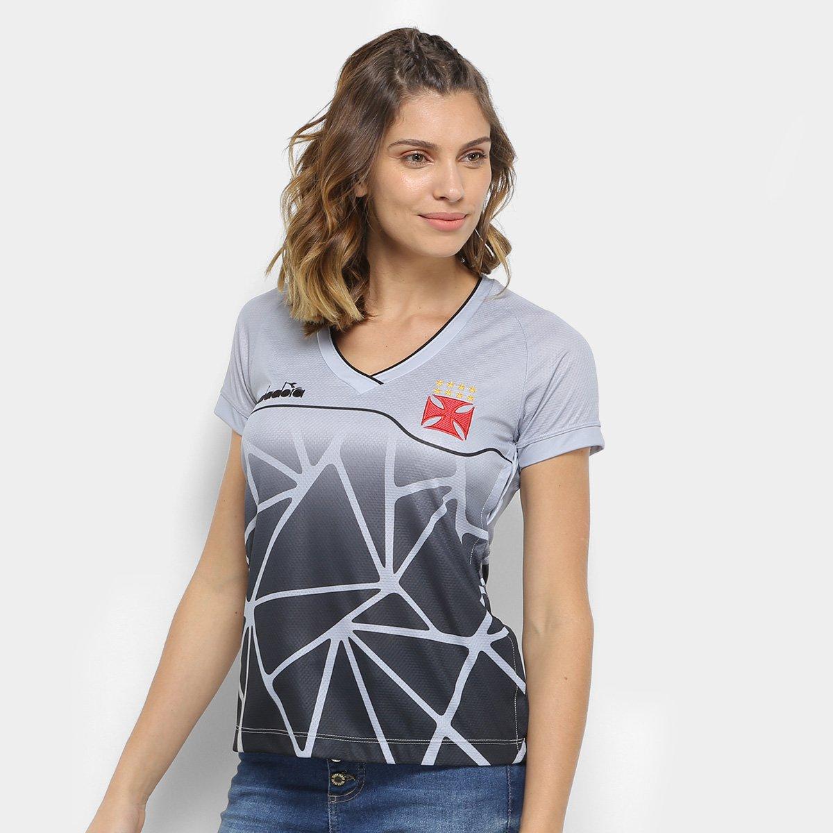 Camisa Vasco Treino 2018 Diadora Feminina - Prata - Compre Agora ... ea08a16fdc87f