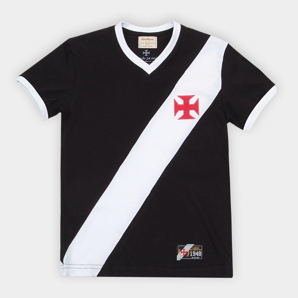 81ad3a2b77 Camiseta Vasco Juvenil Retrô Mania 1948 - Preto e Branco - Compre ...
