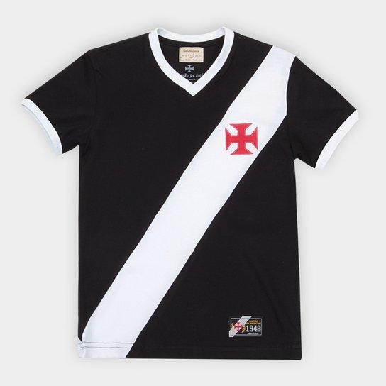 Camiseta Vasco Juvenil Retrô Mania 1948 - Preto+Branco