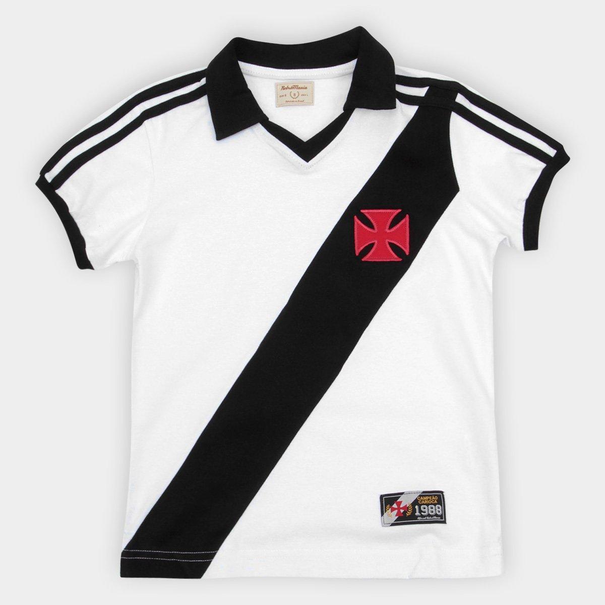 440434fbed Camiseta Vasco Juvenil Retrô Mania 1988 - Branco e Preto - Compre ...