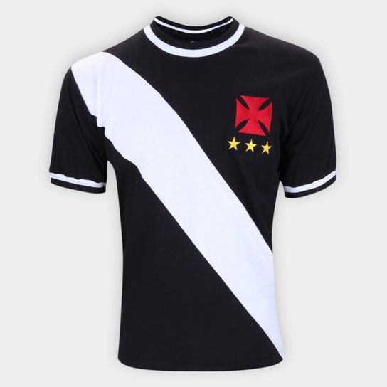 Camiseta Vasco Retrô 1972 Masculina - Preto