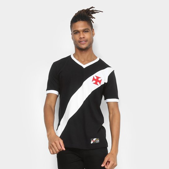 Camiseta Vasco Retrô Mania 1948 Masculina - Preto+Branco