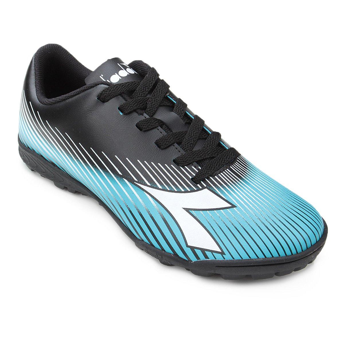 Chuteira Society Diadora Rules - Preto e Azul - Compre Agora  55e560da5c047