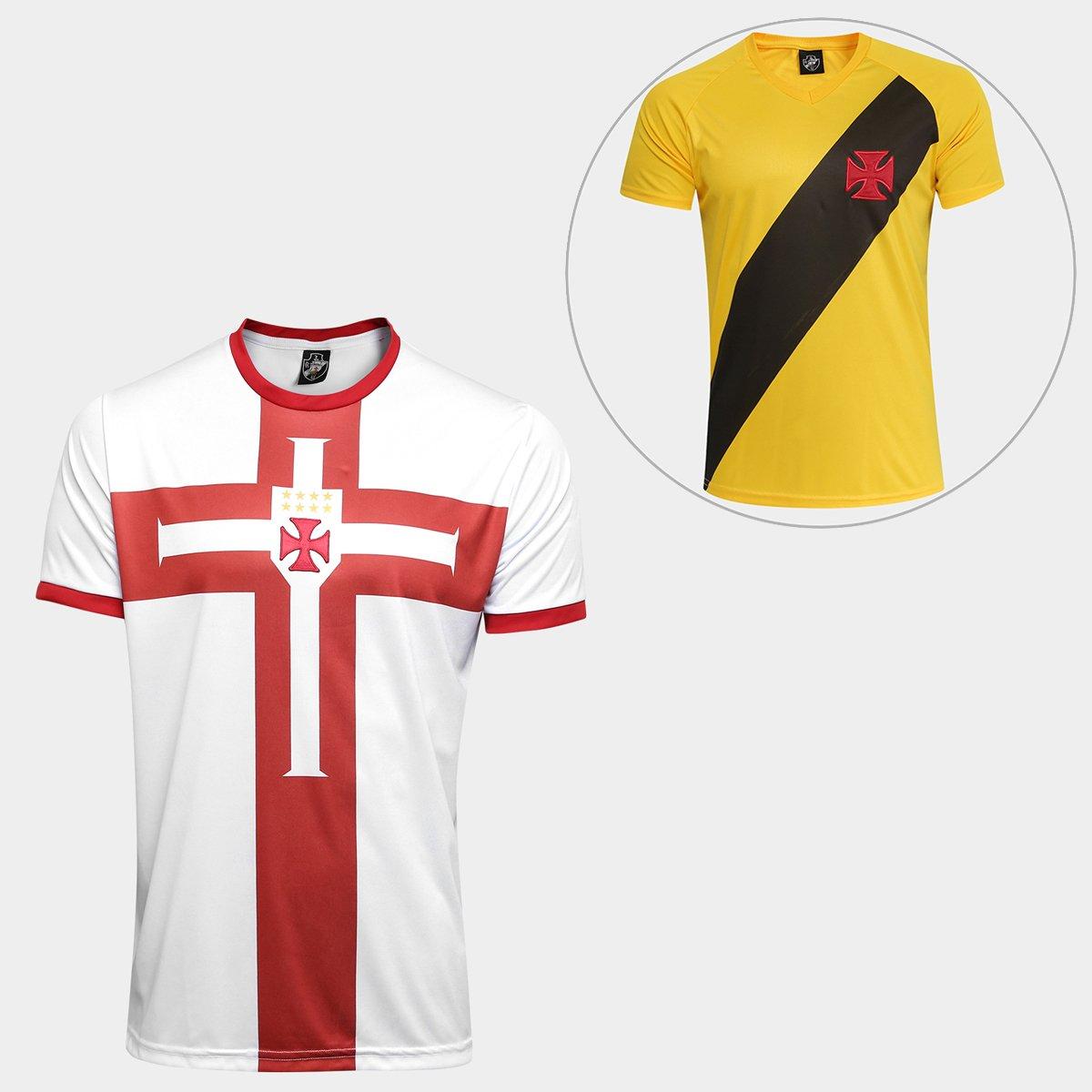 c5722fba25 Kit Camisa Vasco Templária + Camisa Vasco 2012 - Branco e Vermelho ...