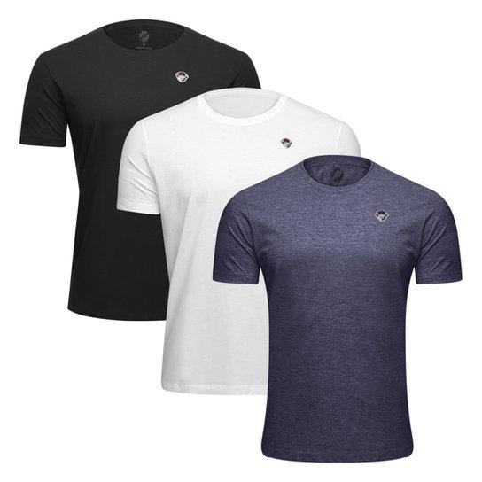 Kit Camiseta Vasco Retrô c/ 3 Peças Masculina - Preto+Chumbo
